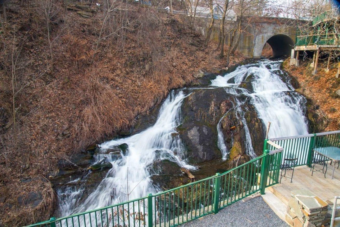 waterfall, trees, rock
