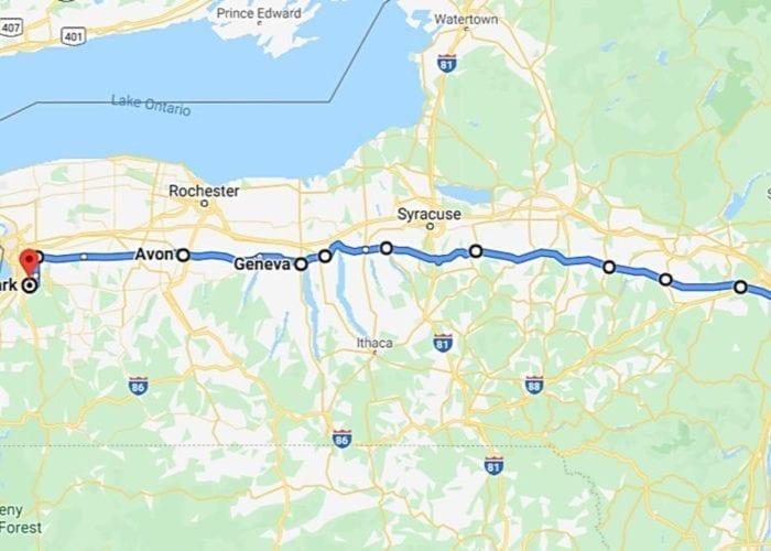 waterfall roadtrip map, nys map
